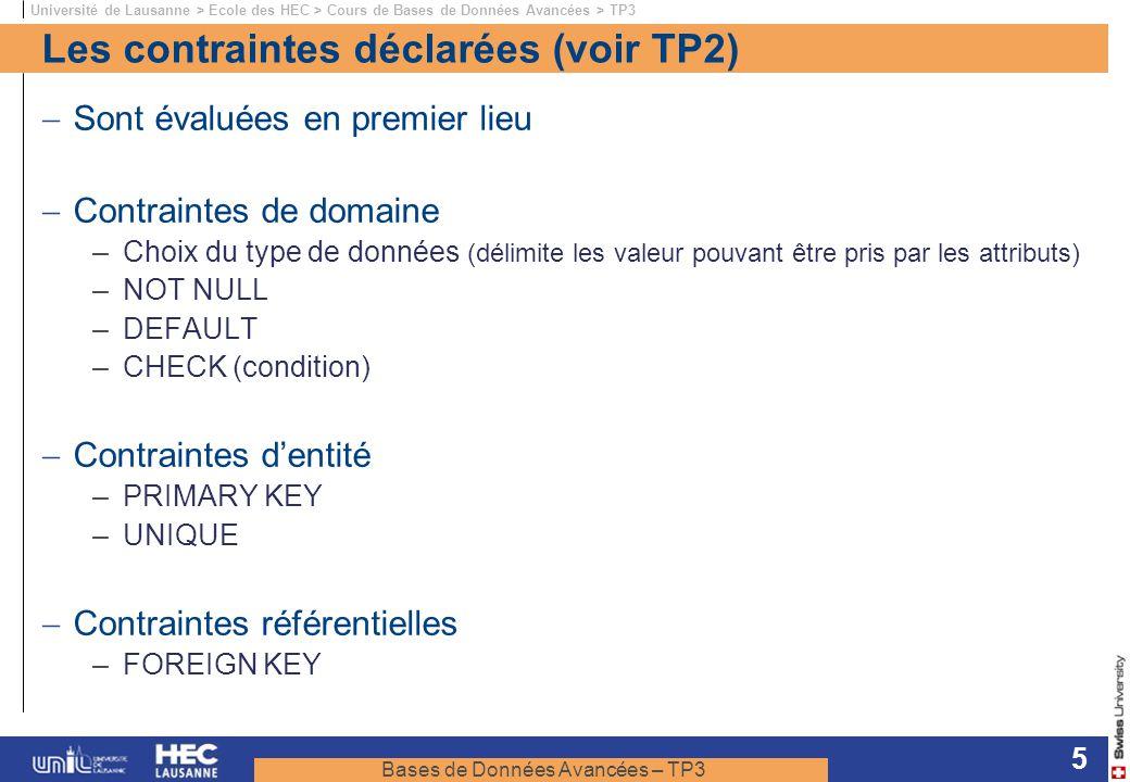Bases de Données Avancées – TP3 Université de Lausanne > Ecole des HEC > Cours de Bases de Données Avancées > TP3 5 Les contraintes déclarées (voir TP2) Sont évaluées en premier lieu Contraintes de domaine –Choix du type de données (délimite les valeur pouvant être pris par les attributs) –NOT NULL –DEFAULT –CHECK (condition) Contraintes dentité –PRIMARY KEY –UNIQUE Contraintes référentielles –FOREIGN KEY