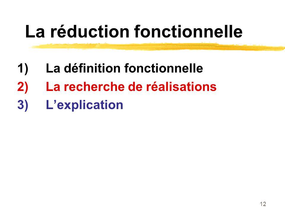 12 La réduction fonctionnelle 1)La définition fonctionnelle 2)La recherche de réalisations 3)Lexplication