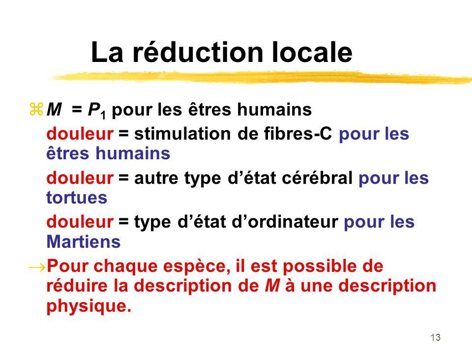 13 La réduction locale M = P 1 pour les êtres humains douleur = stimulation de fibres-C pour les êtres humains douleur = autre type détat cérébral pou