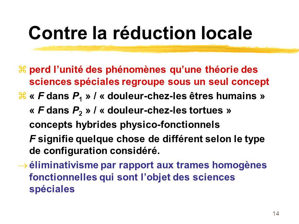14 Contre la réduction locale perd lunité des phénomènes quune théorie des sciences spéciales regroupe sous un seul concept « F dans P 1 » / « douleur-chez-les êtres humains » « F dans P 2 » / « douleur-chez-les tortues » concepts hybrides physico-fonctionnels F signifie quelque chose de différent selon le type de configuration considéré.