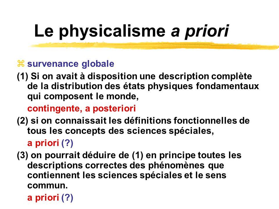 Le physicalisme a priori survenance globale (1) Si on avait à disposition une description complète de la distribution des états physiques fondamentaux