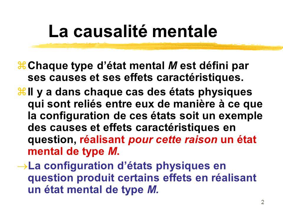 2 La causalité mentale Chaque type détat mental M est défini par ses causes et ses effets caractéristiques. Il y a dans chaque cas des états physiques