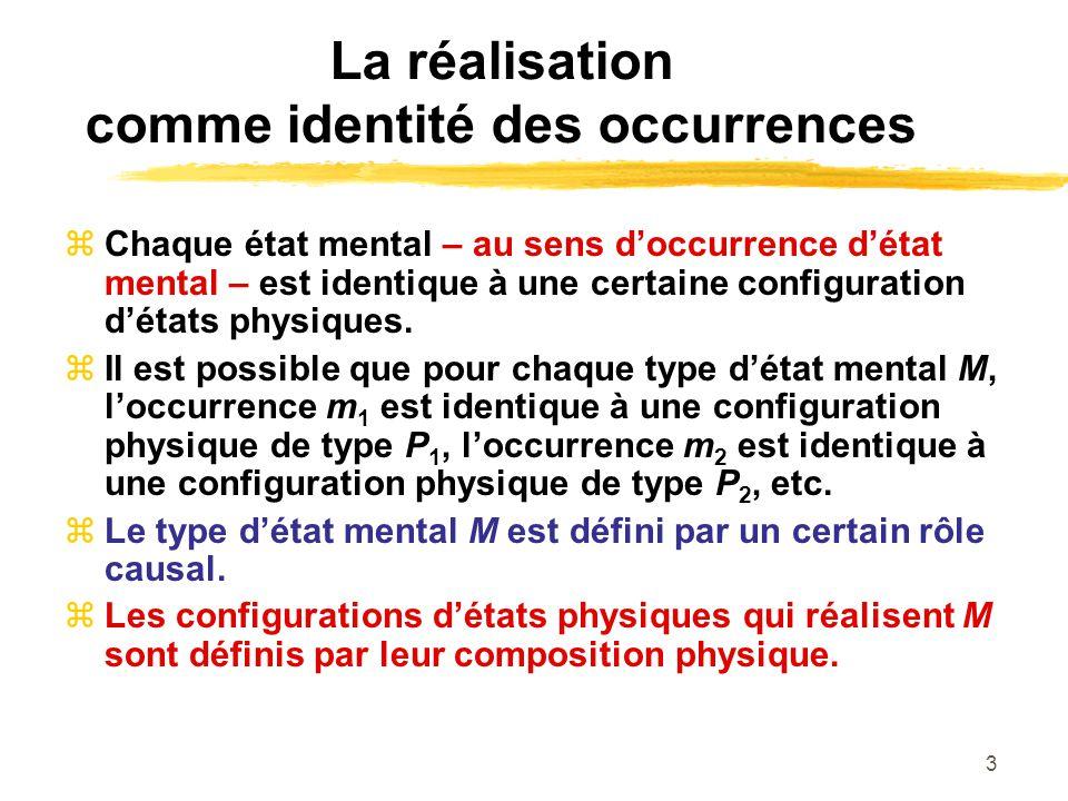 3 La réalisation comme identité des occurrences Chaque état mental – au sens doccurrence détat mental – est identique à une certaine configuration détats physiques.