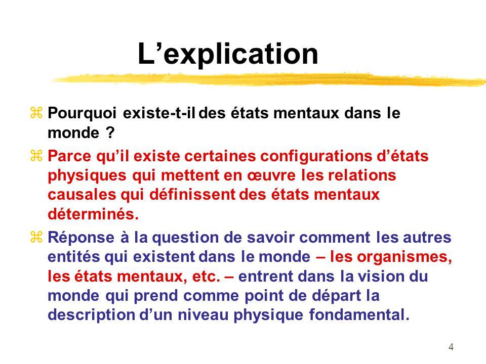 4 Lexplication Pourquoi existe-t-il des états mentaux dans le monde ? Parce quil existe certaines configurations détats physiques qui mettent en œuvre