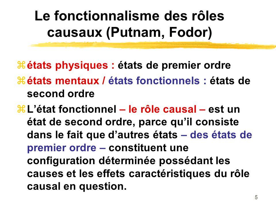 5 Le fonctionnalisme des rôles causaux (Putnam, Fodor) états physiques : états de premier ordre états mentaux / états fonctionnels : états de second o