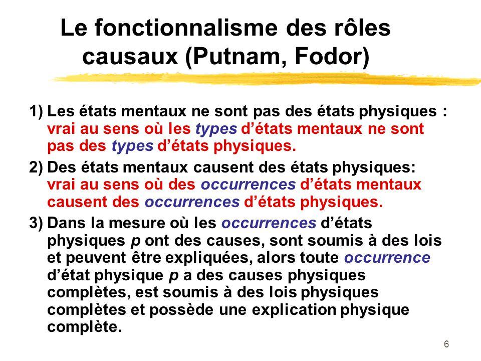 6 Le fonctionnalisme des rôles causaux (Putnam, Fodor) 1)Les états mentaux ne sont pas des états physiques : vrai au sens où les types détats mentaux ne sont pas des types détats physiques.