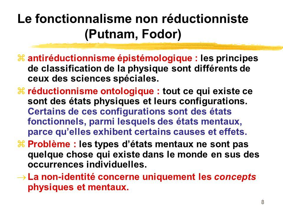 8 Le fonctionnalisme non réductionniste (Putnam, Fodor) antiréductionnisme épistémologique : les principes de classification de la physique sont différents de ceux des sciences spéciales.