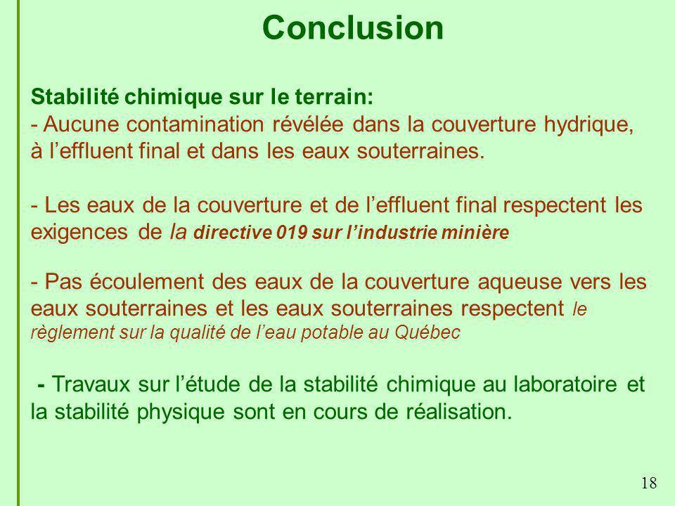18 Conclusion Stabilité chimique sur le terrain: - Aucune contamination révélée dans la couverture hydrique, à leffluent final et dans les eaux souter