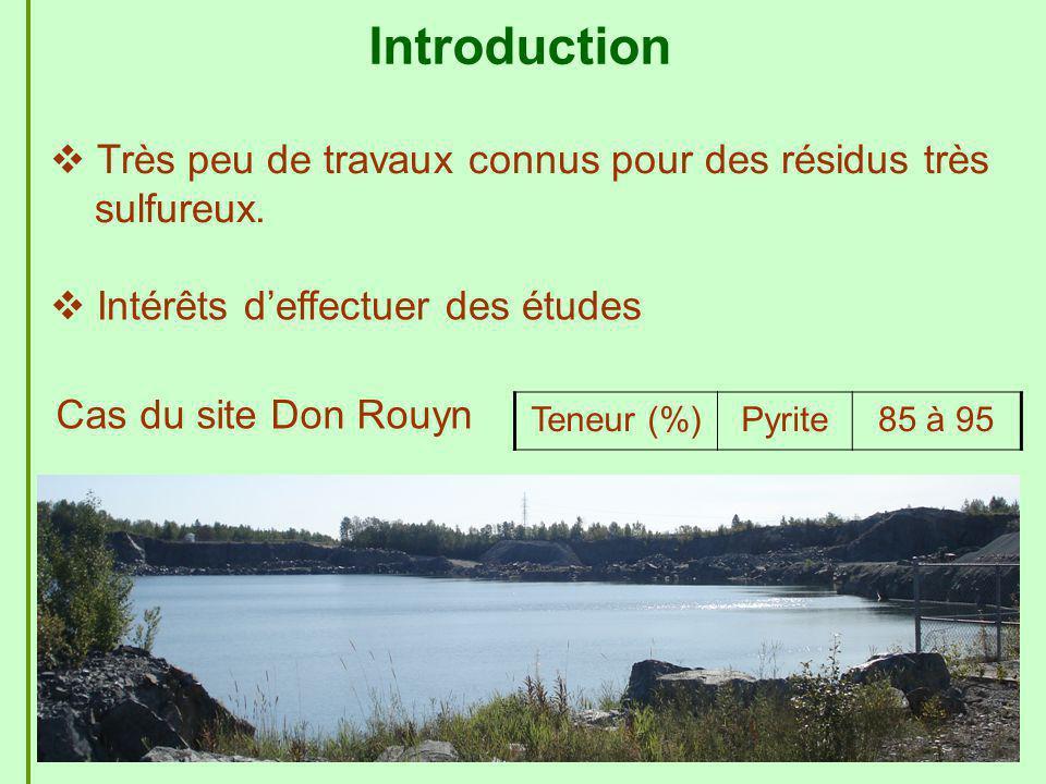 4 Très peu de travaux connus pour des résidus très sulfureux. Cas du site Don Rouyn Intérêts deffectuer des études Teneur (%)Pyrite85 à 95 Introductio