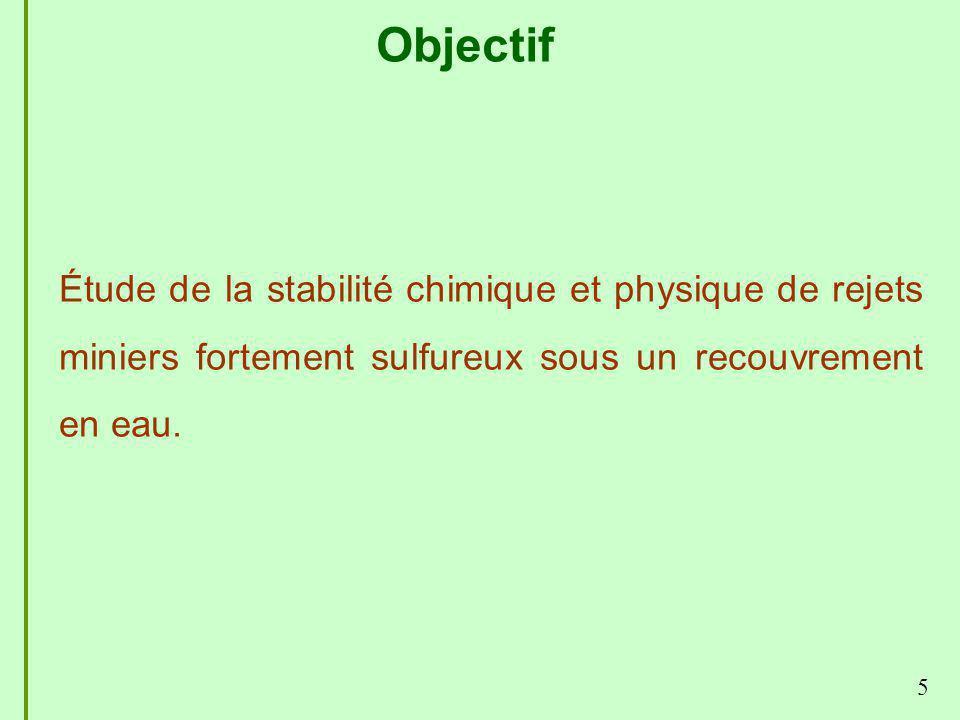 Objectif 5 Étude de la stabilité chimique et physique de rejets miniers fortement sulfureux sous un recouvrement en eau.