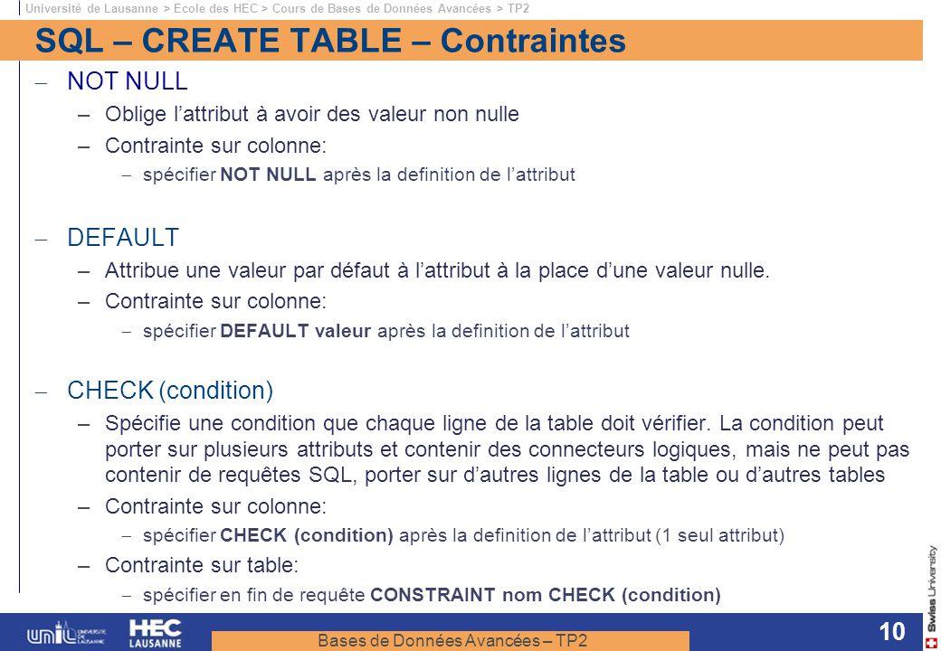 Bases de Données Avancées – TP2 Université de Lausanne > Ecole des HEC > Cours de Bases de Données Avancées > TP2 10 SQL – CREATE TABLE – Contraintes