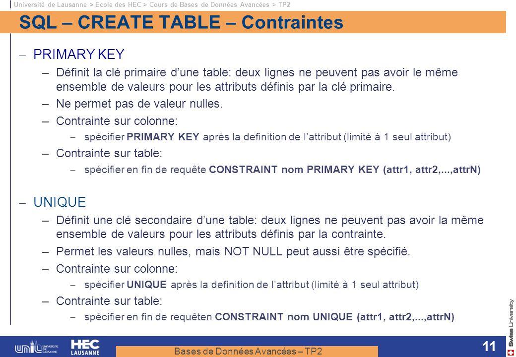 Bases de Données Avancées – TP2 Université de Lausanne > Ecole des HEC > Cours de Bases de Données Avancées > TP2 11 SQL – CREATE TABLE – Contraintes
