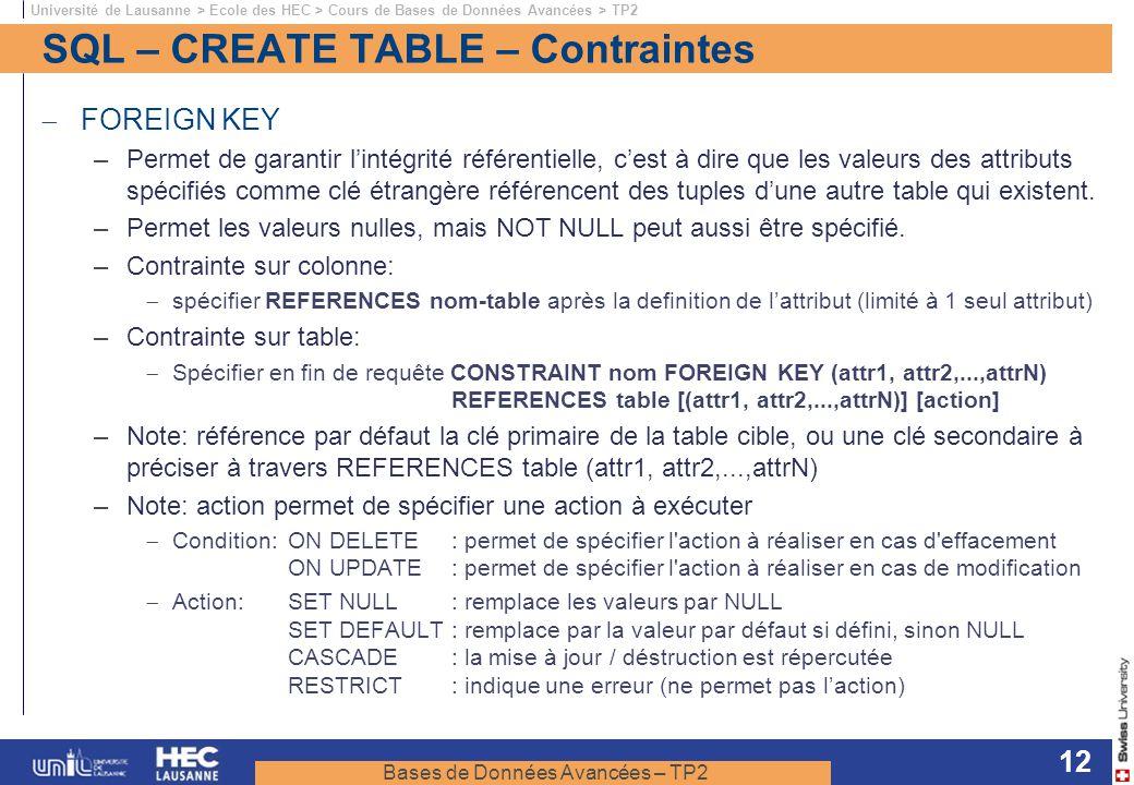 Bases de Données Avancées – TP2 Université de Lausanne > Ecole des HEC > Cours de Bases de Données Avancées > TP2 12 SQL – CREATE TABLE – Contraintes