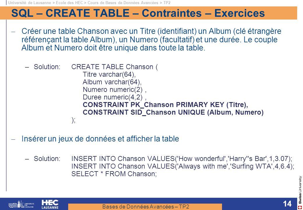Bases de Données Avancées – TP2 Université de Lausanne > Ecole des HEC > Cours de Bases de Données Avancées > TP2 14 SQL – CREATE TABLE – Contraintes