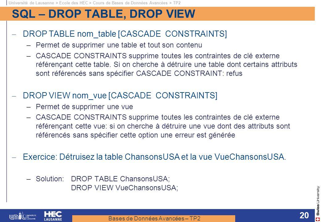 Bases de Données Avancées – TP2 Université de Lausanne > Ecole des HEC > Cours de Bases de Données Avancées > TP2 20 SQL – DROP TABLE, DROP VIEW DROP