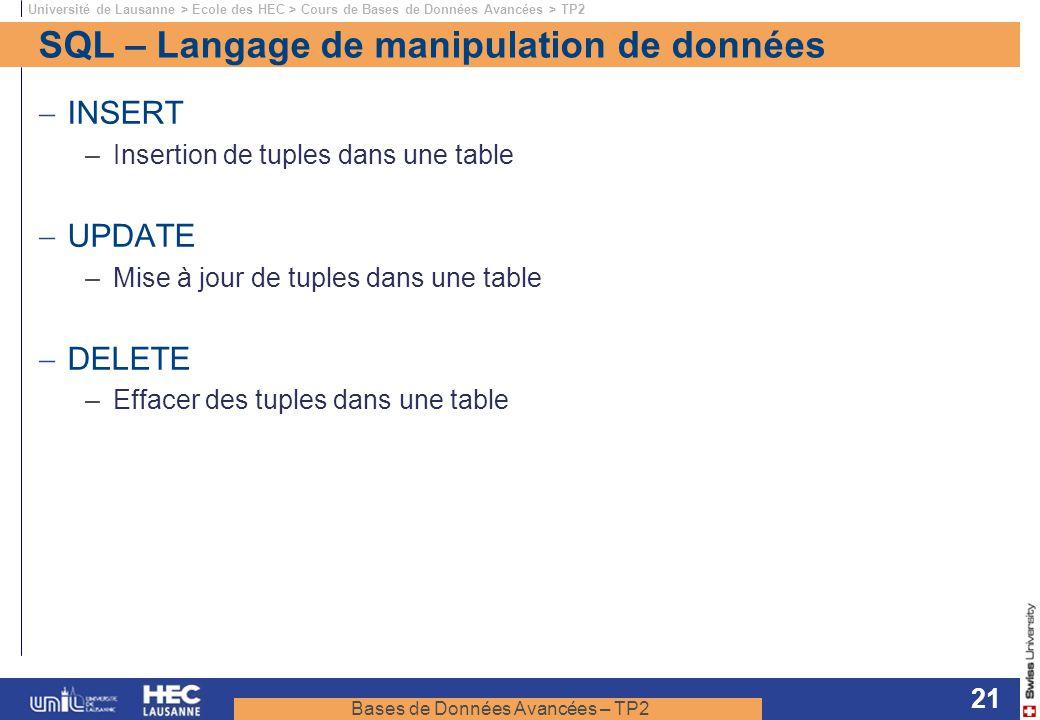 Bases de Données Avancées – TP2 Université de Lausanne > Ecole des HEC > Cours de Bases de Données Avancées > TP2 21 SQL – Langage de manipulation de
