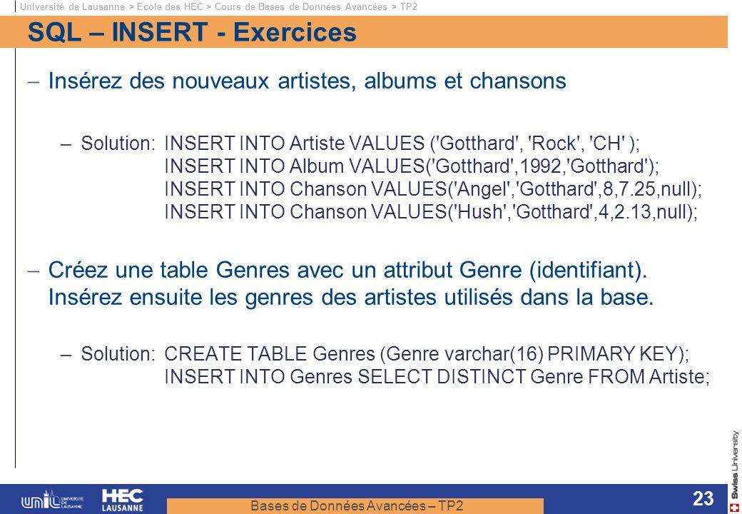 Bases de Données Avancées – TP2 Université de Lausanne > Ecole des HEC > Cours de Bases de Données Avancées > TP2 23 SQL – INSERT - Exercices Insérez