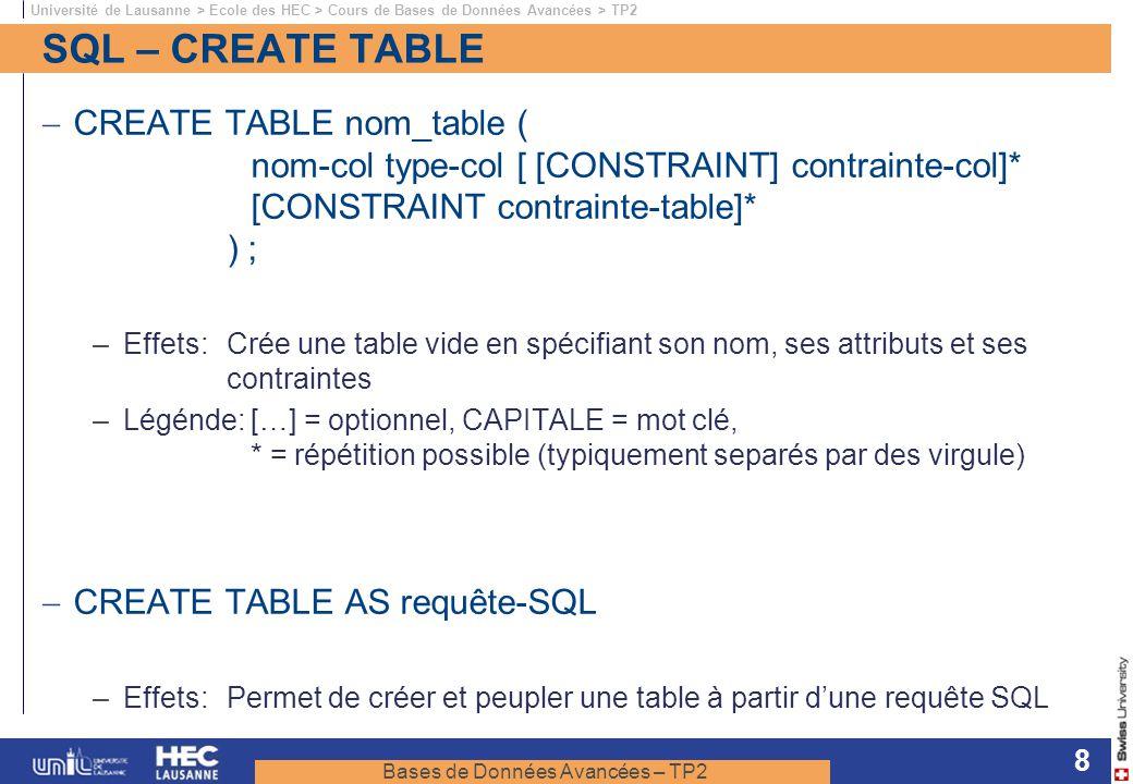 Bases de Données Avancées – TP2 Université de Lausanne > Ecole des HEC > Cours de Bases de Données Avancées > TP2 8 SQL – CREATE TABLE CREATE TABLE no