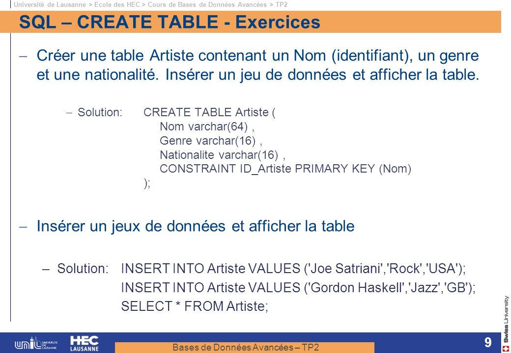 Bases de Données Avancées – TP2 Université de Lausanne > Ecole des HEC > Cours de Bases de Données Avancées > TP2 9 SQL – CREATE TABLE - Exercices Cré