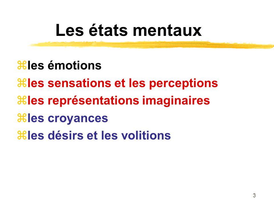 4 La conscience expériences vécues, manifestant une certaine qualité phénoménale ou sensorielle (qualia) émotions, représentations imaginaires, sensations, perceptions croyances, volitions ?