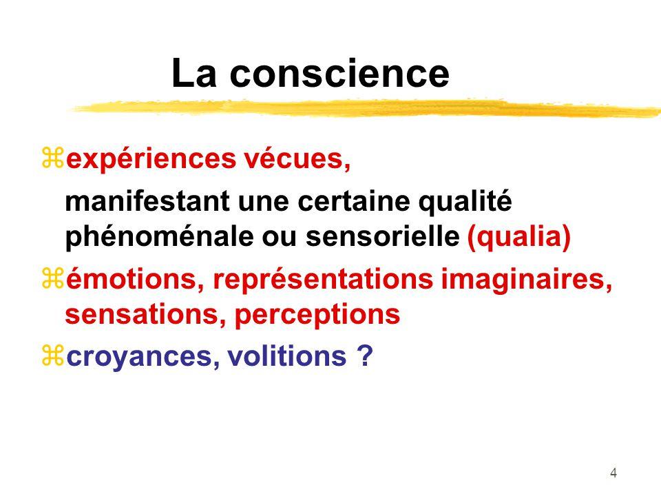 4 La conscience expériences vécues, manifestant une certaine qualité phénoménale ou sensorielle (qualia) émotions, représentations imaginaires, sensations, perceptions croyances, volitions