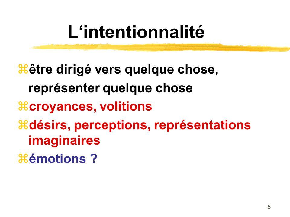 5 Lintentionnalité être dirigé vers quelque chose, représenter quelque chose croyances, volitions désirs, perceptions, représentations imaginaires émotions