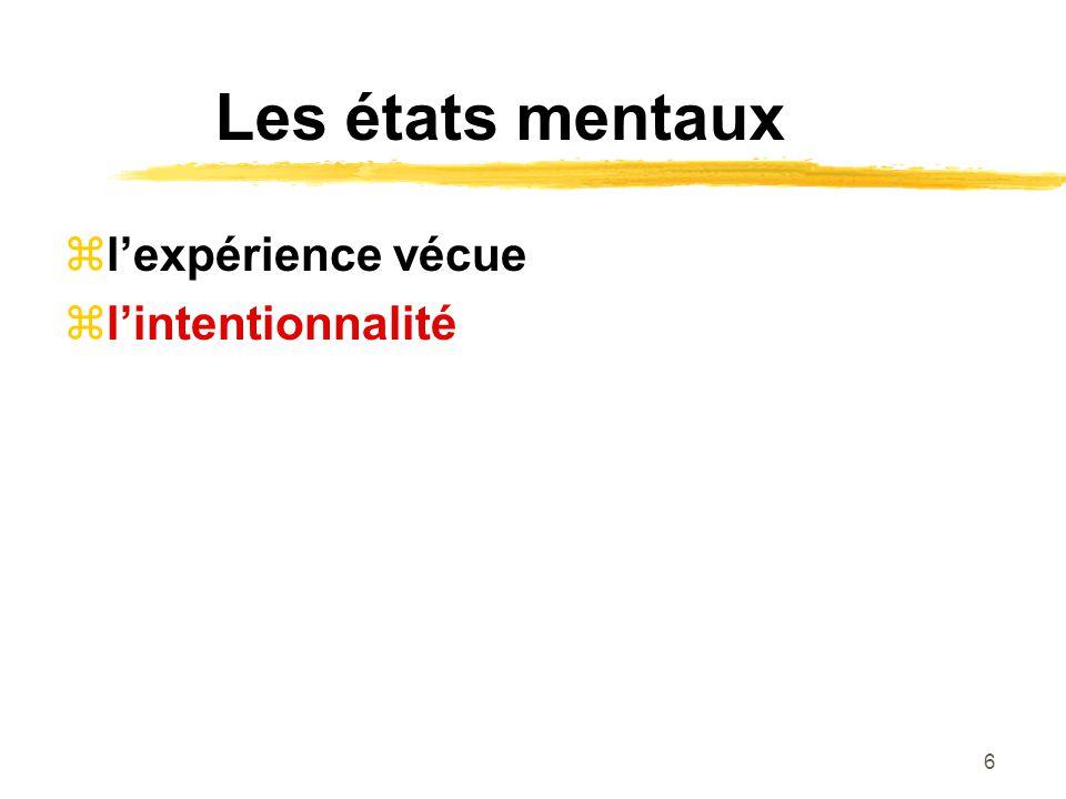 6 Les états mentaux lexpérience vécue lintentionnalité