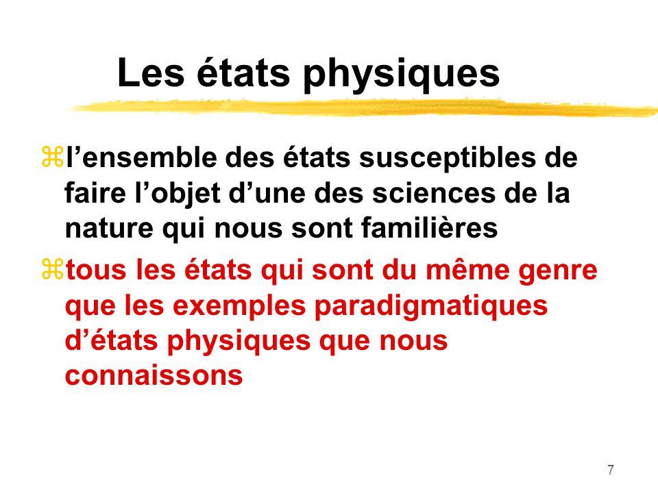 7 Les états physiques lensemble des états susceptibles de faire lobjet dune des sciences de la nature qui nous sont familières tous les états qui sont du même genre que les exemples paradigmatiques détats physiques que nous connaissons