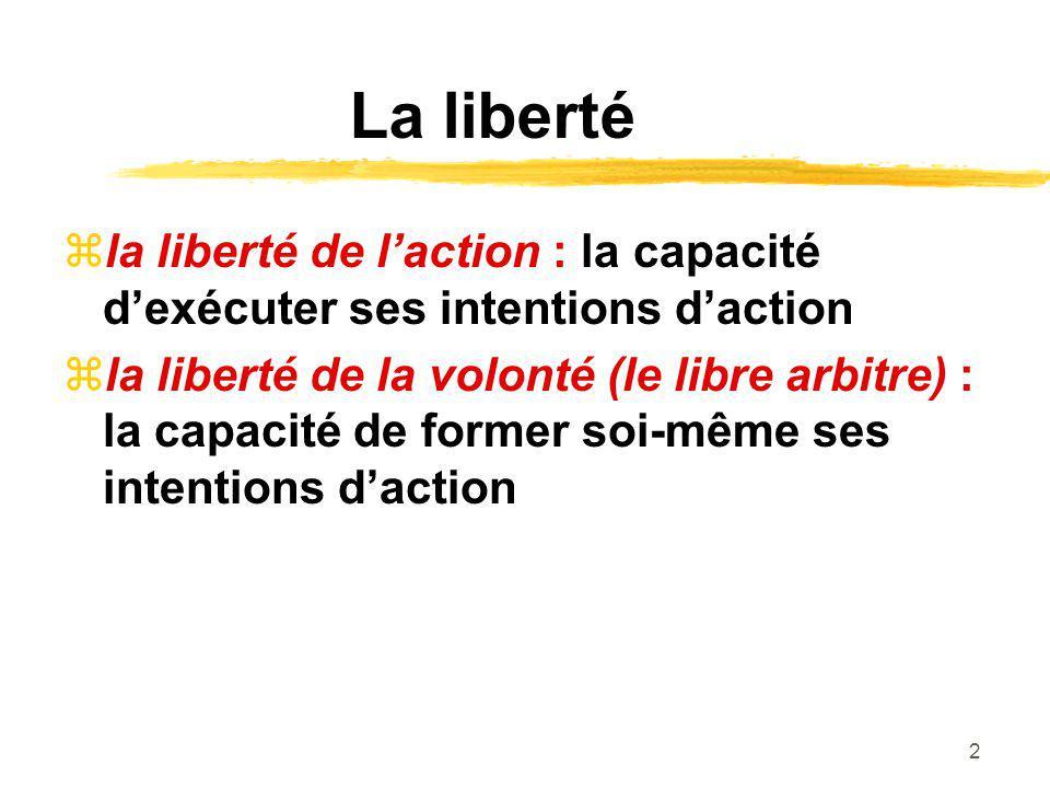 2 La liberté la liberté de laction : la capacité dexécuter ses intentions daction la liberté de la volonté (le libre arbitre) : la capacité de former soi-même ses intentions daction