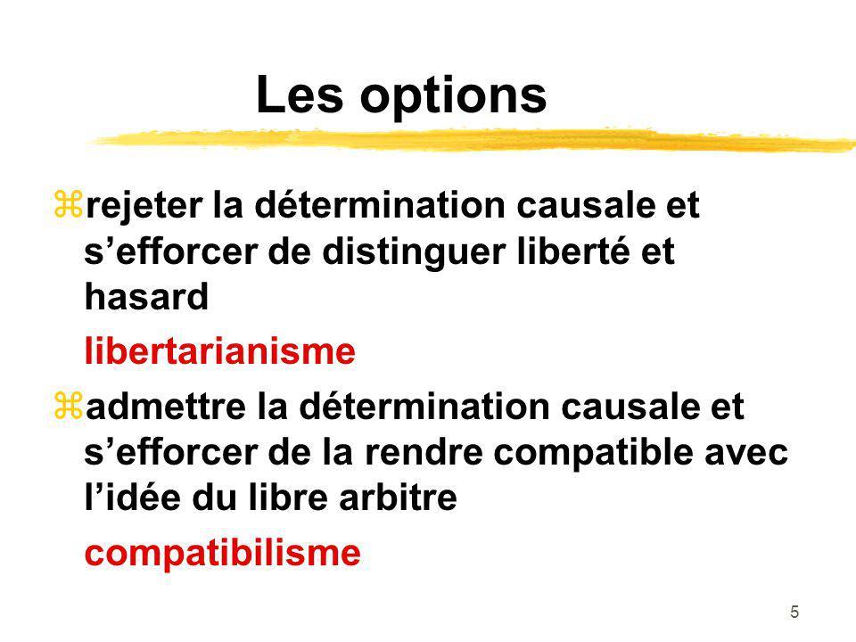 6 Le libertarianisme Si la personne avait pu agir autrement, il est exclu que lacte de volonté possède des causes.