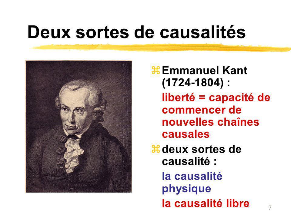 7 Deux sortes de causalités Emmanuel Kant (1724-1804) : liberté = capacité de commencer de nouvelles chaînes causales deux sortes de causalité : la causalité physique la causalité libre