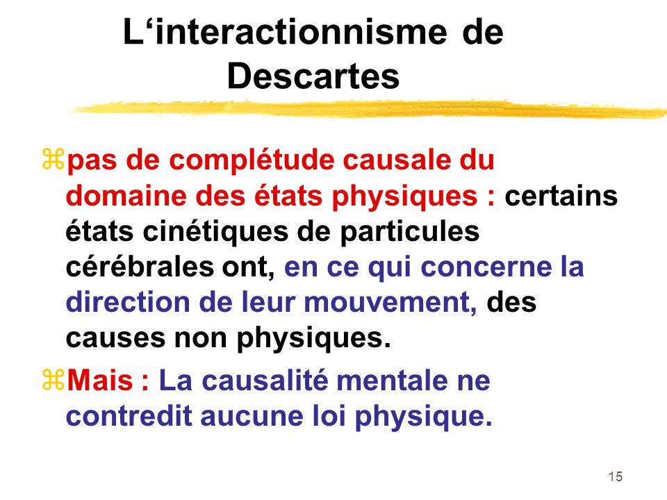15 Linteractionnisme de Descartes pas de complétude causale du domaine des états physiques : certains états cinétiques de particules cérébrales ont, e