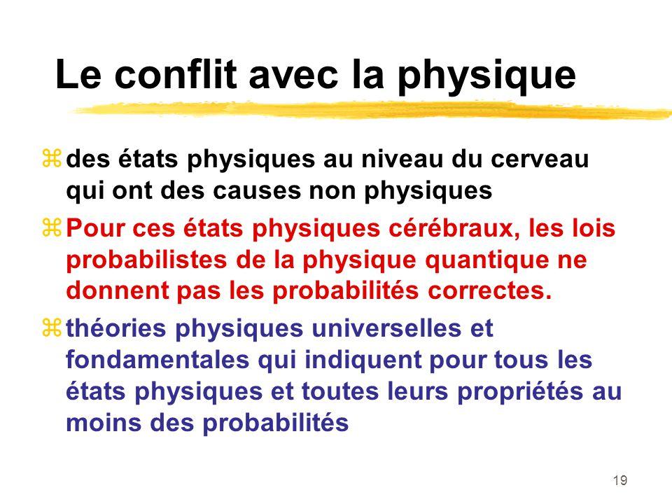 19 Le conflit avec la physique des états physiques au niveau du cerveau qui ont des causes non physiques Pour ces états physiques cérébraux, les lois