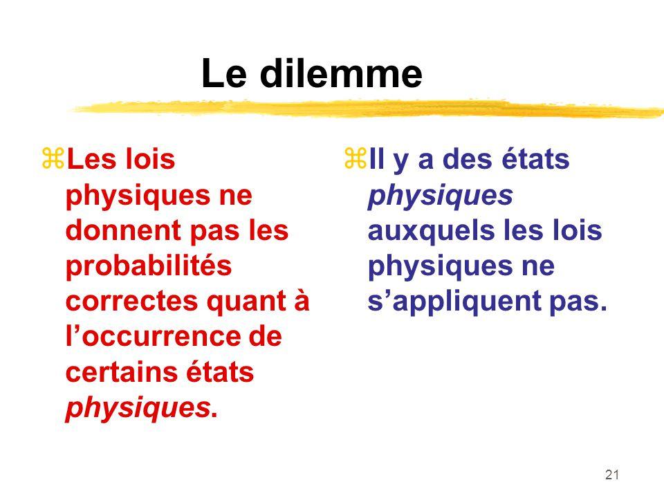 21 Le dilemme Les lois physiques ne donnent pas les probabilités correctes quant à loccurrence de certains états physiques. Il y a des états physiques