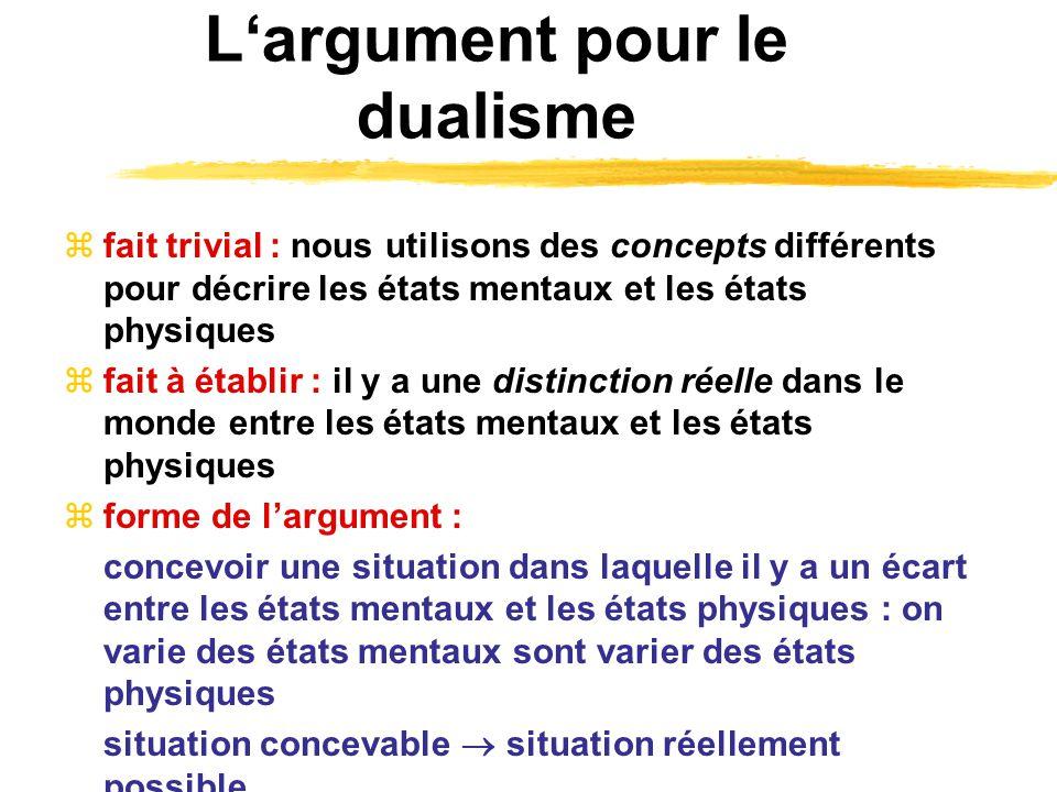 Largument pour le dualisme fait trivial : nous utilisons des concepts différents pour décrire les états mentaux et les états physiques fait à établir