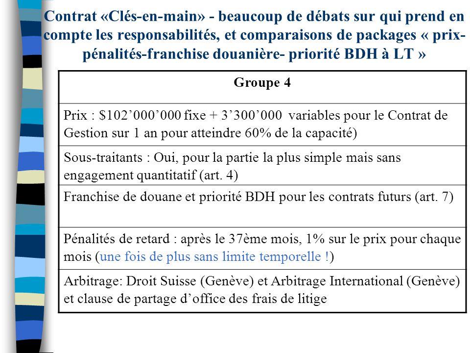 Contrat «Clés-en-main» - beaucoup de débats sur qui prend en compte les responsabilités, et comparaisons de packages « prix- pénalités-franchise douan
