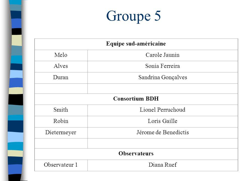 Groupe 5 Equipe sud-américaine MeloCarole Jaunin AlvesSonia Ferreira DuranSandrina Gonçalves Consortium BDH SmithLionel Perruchoud RobinLoris Gaille D