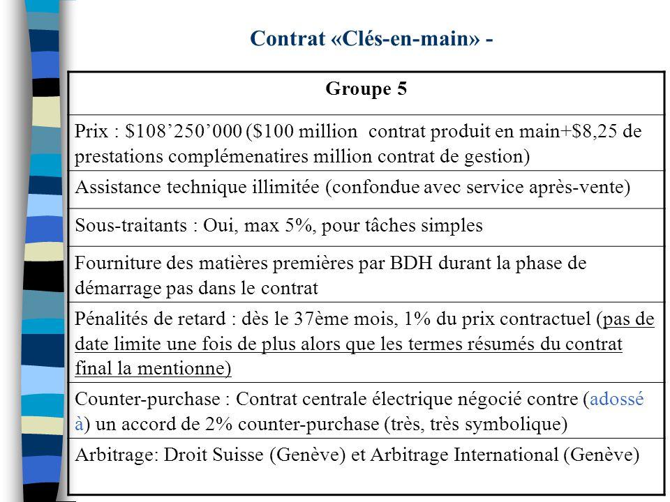 Contrat «Clés-en-main» - Groupe 5 Prix : $108250000 ($100 million contrat produit en main+$8,25 de prestations complémenatires million contrat de gestion) Assistance technique illimitée (confondue avec service après-vente) Sous-traitants : Oui, max 5%, pour tâches simples Fourniture des matières premières par BDH durant la phase de démarrage pas dans le contrat Pénalités de retard : dès le 37ème mois, 1% du prix contractuel (pas de date limite une fois de plus alors que les termes résumés du contrat final la mentionne) Counter-purchase : Contrat centrale électrique négocié contre (adossé à) un accord de 2% counter-purchase (très, très symbolique) Arbitrage: Droit Suisse (Genève) et Arbitrage International (Genève)