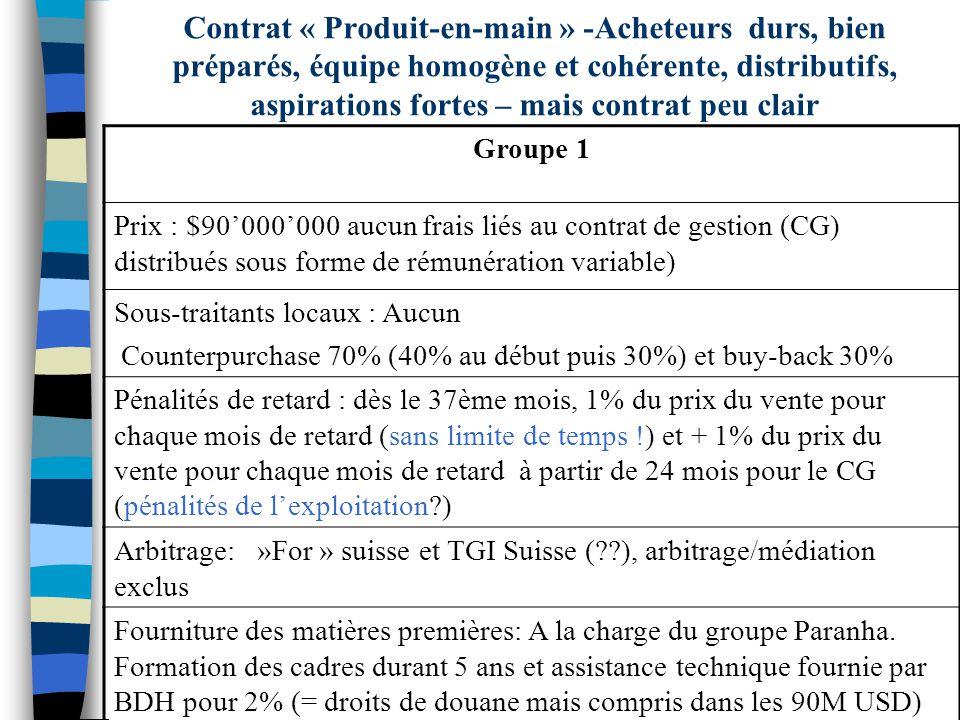 Groupe 1 Prix : $90000000 aucun frais liés au contrat de gestion (CG) distribués sous forme de rémunération variable) Sous-traitants locaux : Aucun Co