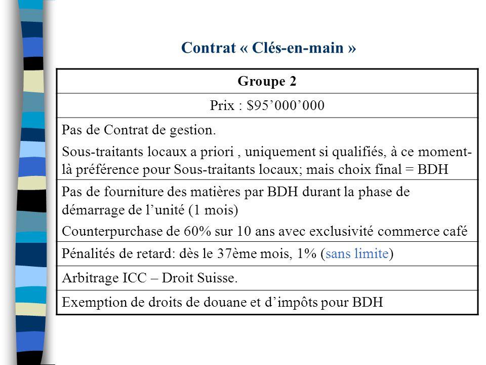 Contrat « Clés-en-main » Groupe 2 Prix : $95000000 Pas de Contrat de gestion. Sous-traitants locaux a priori, uniquement si qualifiés, à ce moment- là