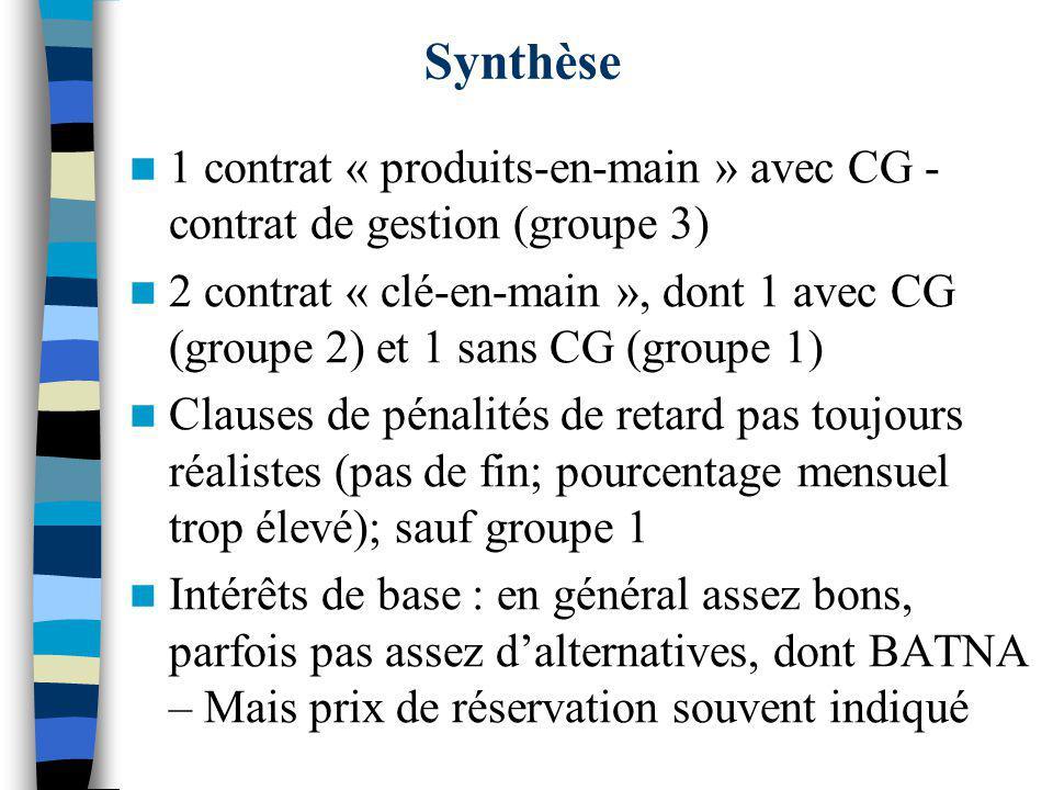 Synthèse 1 contrat « produits-en-main » avec CG - contrat de gestion (groupe 3) 2 contrat « clé-en-main », dont 1 avec CG (groupe 2) et 1 sans CG (gro