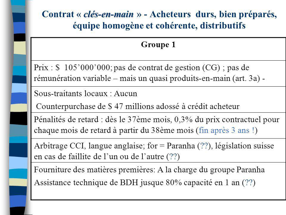 Groupe 1 Prix : $ 105000000; pas de contrat de gestion (CG) ; pas de rémunération variable – mais un quasi produits-en-main (art. 3a) - Sous-traitants