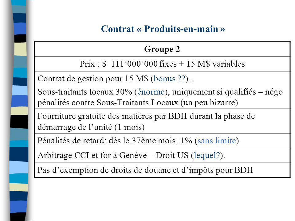 Contrat « Produits-en-main » Groupe 2 Prix : $ 111000000 fixes + 15 M$ variables Contrat de gestion pour 15 M$ (bonus ??). Sous-traitants locaux 30% (