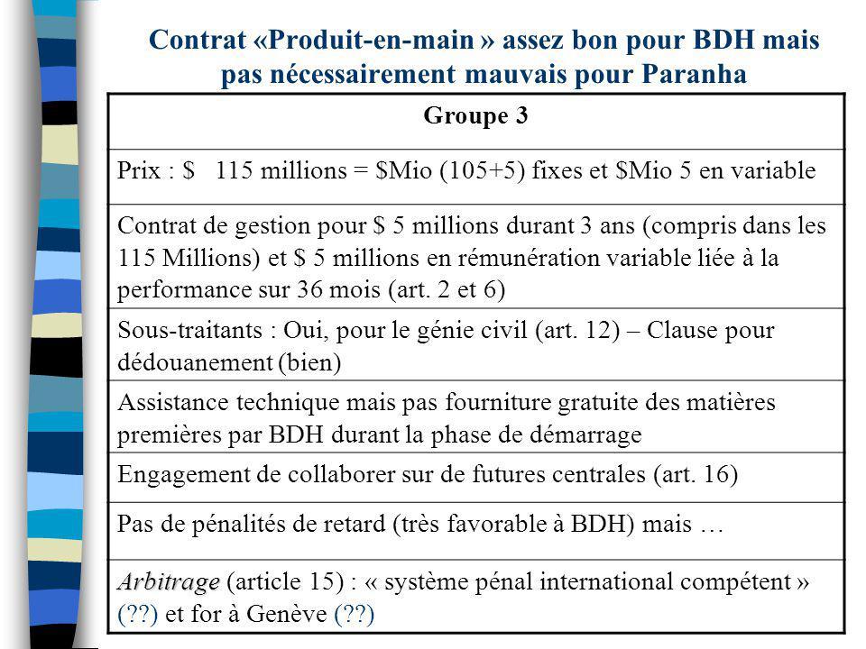 Contrat «Produit-en-main » assez bon pour BDH mais pas nécessairement mauvais pour Paranha Groupe 3 Prix : $ 115 millions = $Mio (105+5) fixes et $Mio