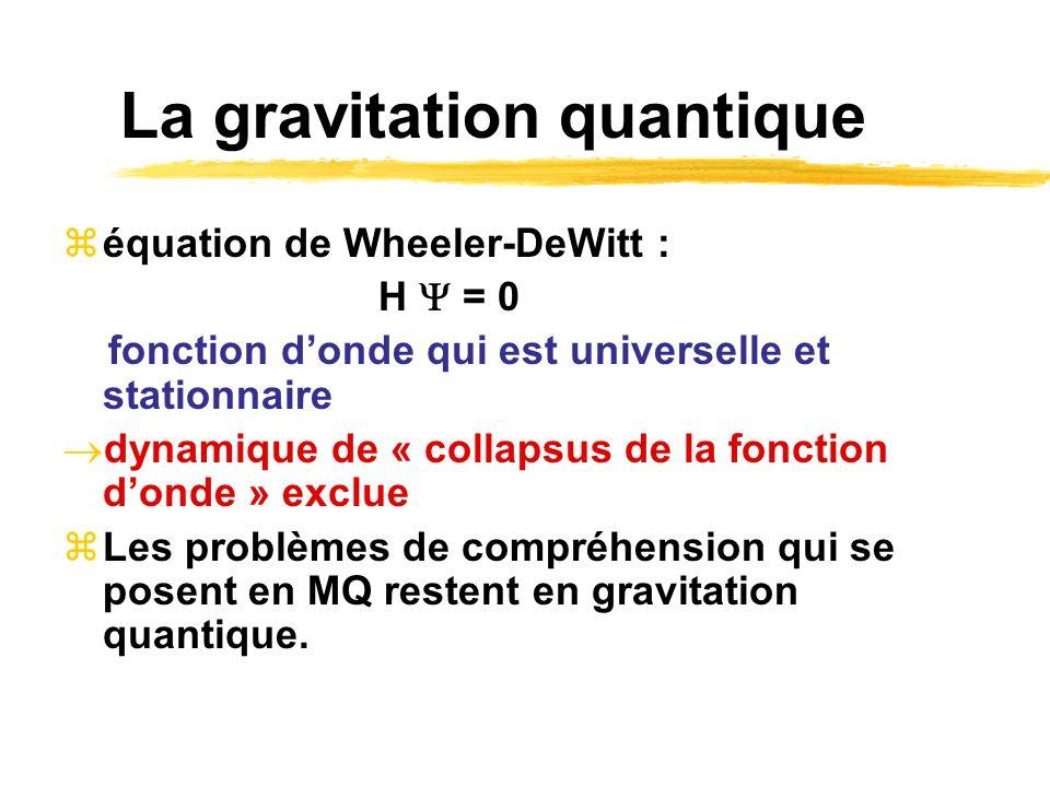 La gravitation quantique équation de Wheeler-DeWitt : H = 0 fonction donde qui est universelle et stationnaire dynamique de « collapsus de la fonction