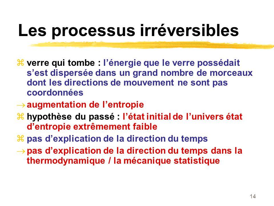 14 Les processus irréversibles verre qui tombe : lénergie que le verre possédait sest dispersée dans un grand nombre de morceaux dont les directions d