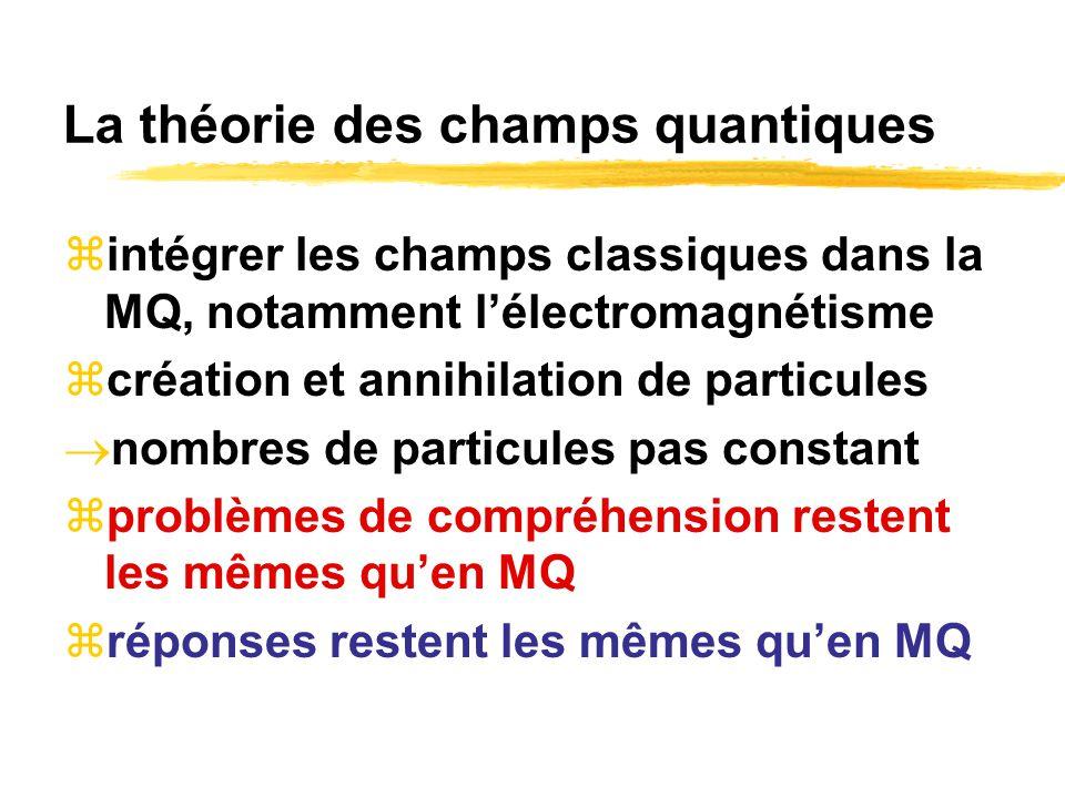 La théorie des champs quantiques intégrer les champs classiques dans la MQ, notamment lélectromagnétisme création et annihilation de particules nombre