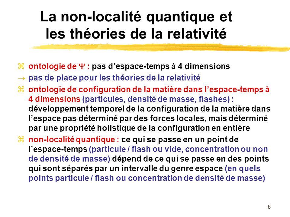 La non-localité quantique et les théories de la relativité ontologie de : pas despace-temps à 4 dimensions pas de place pour les théories de la relati