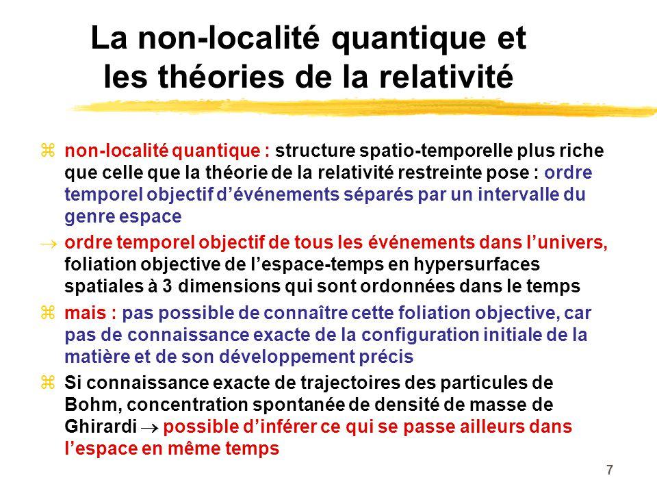 La non-localité quantique et les théories de la relativité non-localité quantique : structure spatio-temporelle plus riche que celle que la théorie de