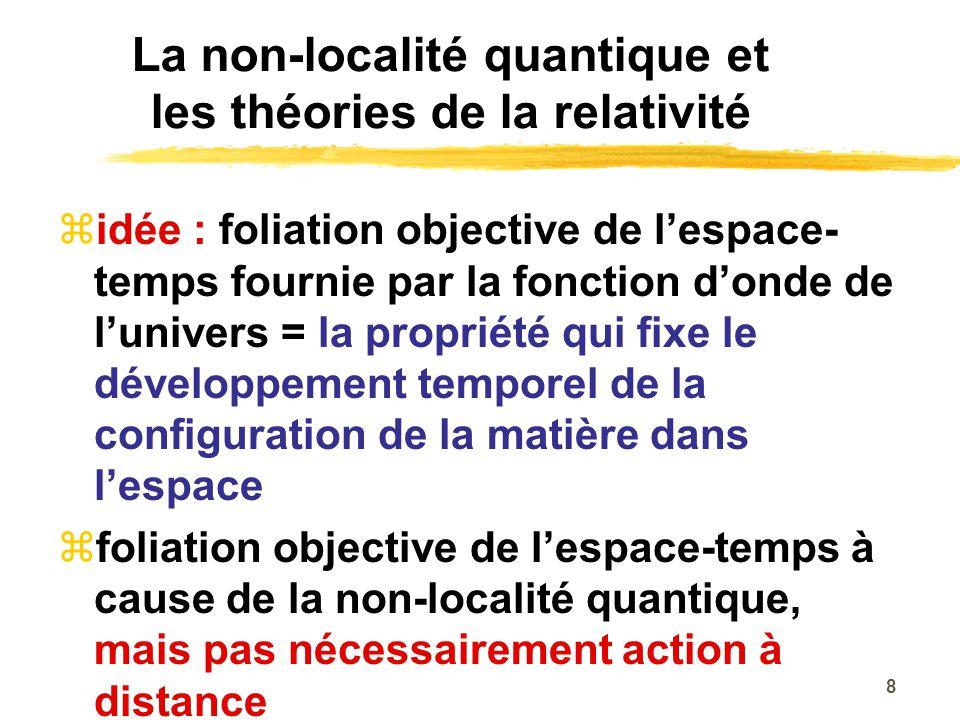 La non-localité quantique et les théories de la relativité idée : foliation objective de lespace- temps fournie par la fonction donde de lunivers = la